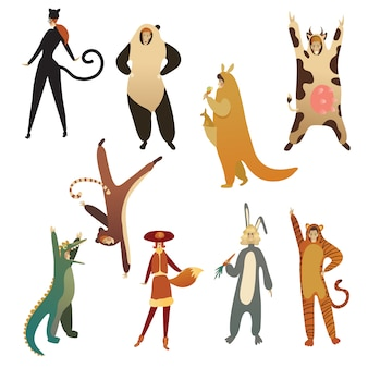 Flat   set of young people in animal costumes. cartoon men and women in clothing for carnival