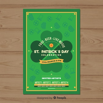 Flat shamrock st patrick day party poster
