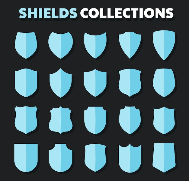 Flat shield icon isolated