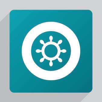 Flat ship wheel icon, white on green background