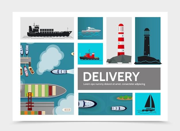 Плоская иллюстрация состава доставки