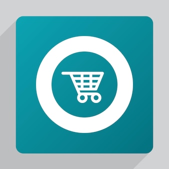 Flat shopping cart icon, white on green background
