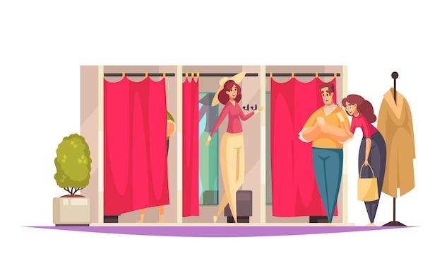 매장의 탈의실과 사람들이있는 평평한 쇼핑 구성