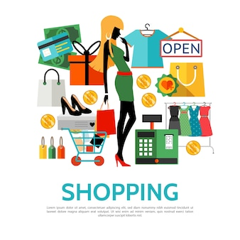 Flat shopping icons concept Free Vector