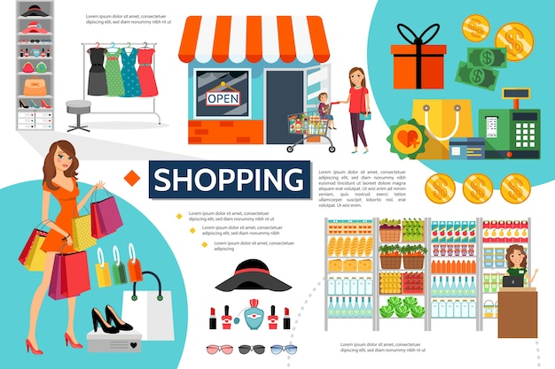 Flat shopping infographic concept