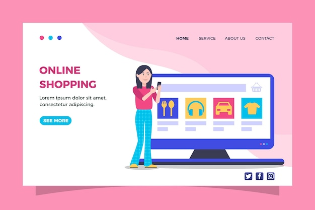 Flat shopping online landing page template