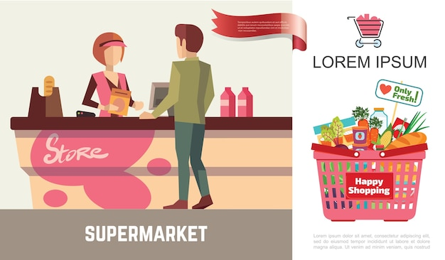 Flat shopping in supermarket concept