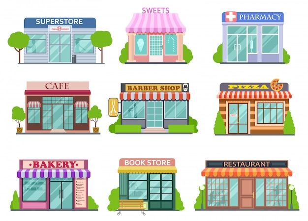 フラットショップセット。理髪店、書店、薬局。ベーカリーとピザの分離された漫画の物語のベクトルコレクション
