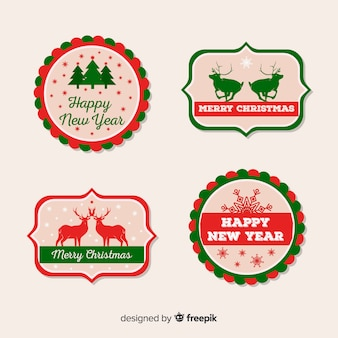 Flat silhouettes christmas label pack