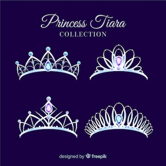 Flat silver princess tiara collection