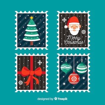 Flat simple christmas stamps colllection
