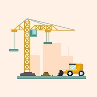 Flat simple construction illustration