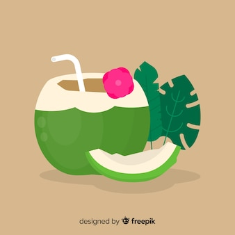 Flat simple green coconut background