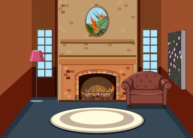Flat simple living room interior