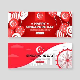 Flat singapore national day banners set