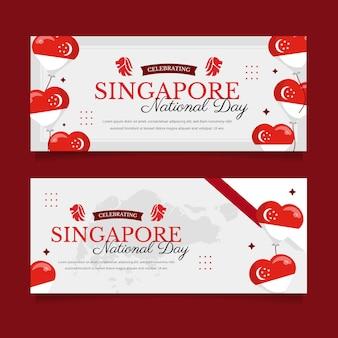 Набор плоских баннеров национального дня сингапура