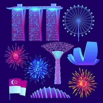 Collezione di elementi per la giornata nazionale di singapore piatta
