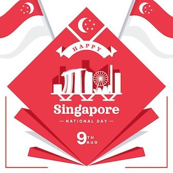フラット シンガポール建国記念日イラスト