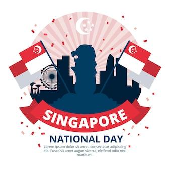 Flat singapore national day illustration