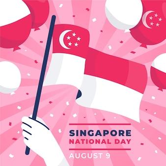 Плоская иллюстрация национального дня сингапура