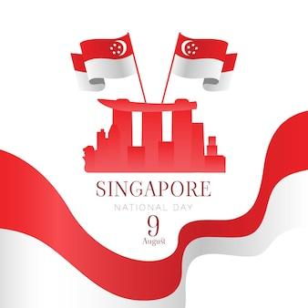 플랫 싱가포르 국경일 그림