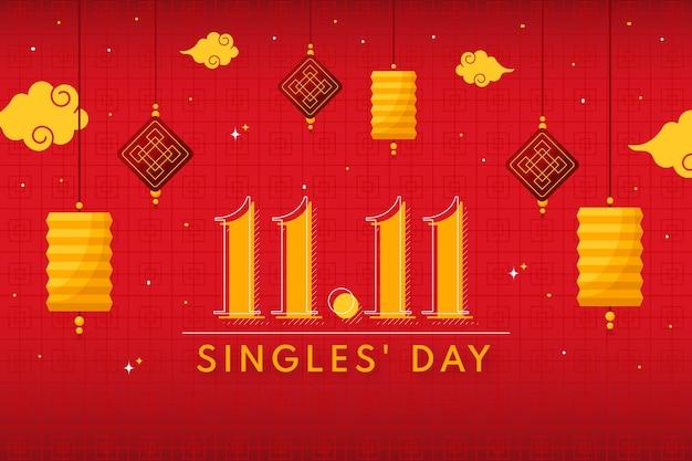 Flat single's day background