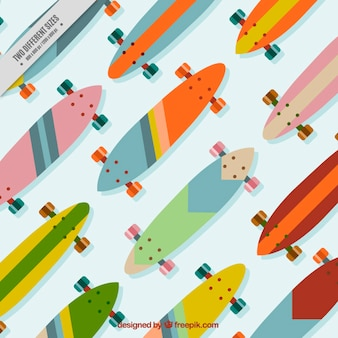 Flat skateboards in top view background