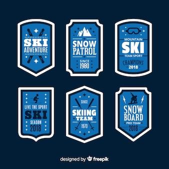 플랫 스키 및 스노우 배지 컬렉션