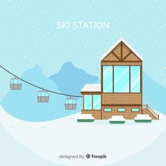 Фон с плоской лыжной станцией