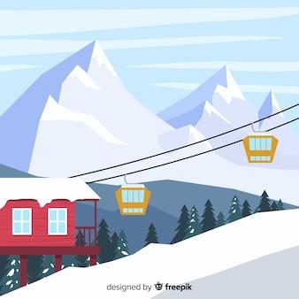 Flat ski station illustration