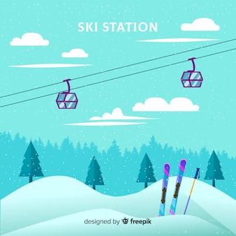 Flat ski station
