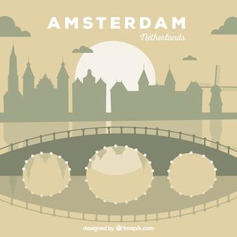 Flat skyline of amsterdam