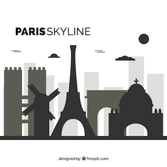 Flat skyline of paris