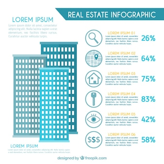 Flat skyscrapers real estate infographic