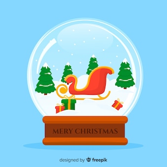 Flat sleigh christmas snowball