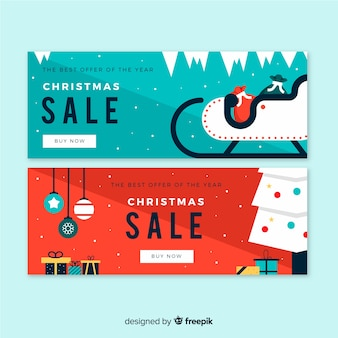 Flat sleigh and tree christmas sale banner