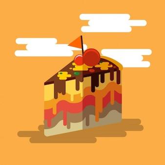 Flat slice of cake design