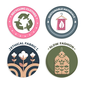 Collezione di badge flat slow fashion
