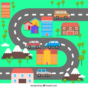 Flat small town with a curved road