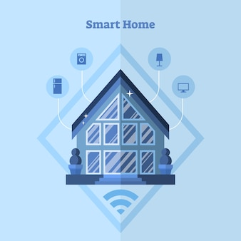 Flat smart house concept vector illustration