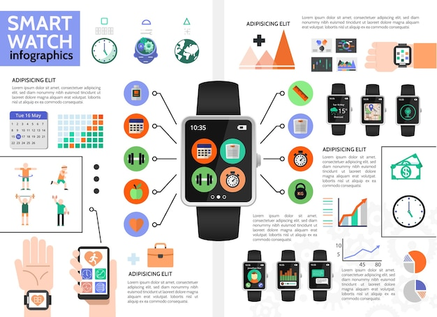 Flat smart watch infographic concept