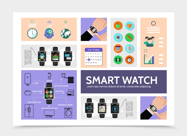 Flat smart watch modern infographic template