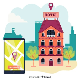 Flat smartphone hotel booking background