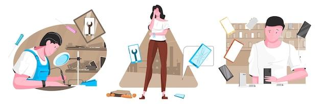 Flat smartphone repair store illustration