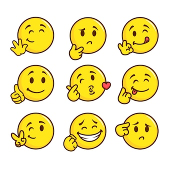 Flat smile emoticon pack illustration
