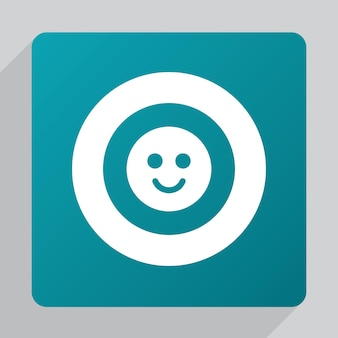 Flat smile icon, white on green background