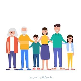 フラット笑顔家族の肖像画