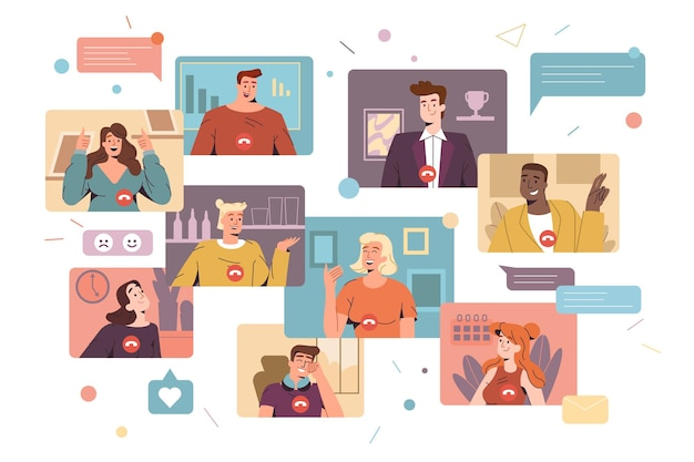 Flat smiling men and women work remotely and have corporate virtual discussion. diverse employees participating in distance video conference call. friends meeting up online. web communication concept.