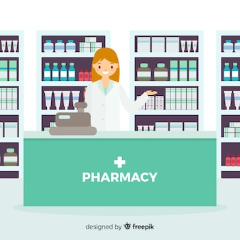 Flat smiling pharmacist simple background