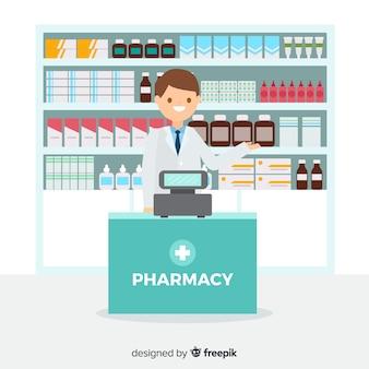 Flat smiling pharmacist simple background